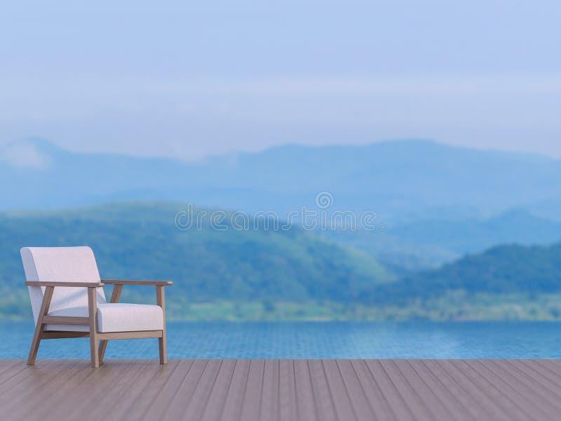 Terraza de la piscina con el fondo borroso 3d del Mountain View rendir stock de ilustración