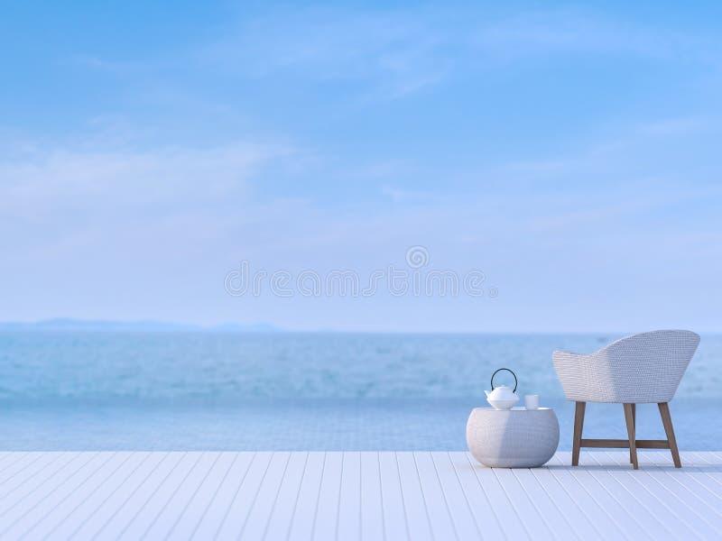Terraza de la piscina con el fondo borroso 3d de la opinión del mar rendir ilustración del vector