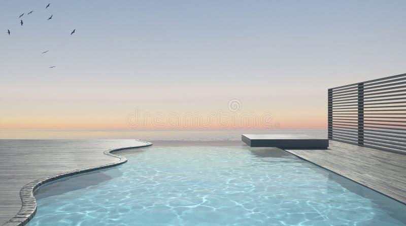Terraza de la piscina del infinito con panorama del océano del mar stock de ilustración