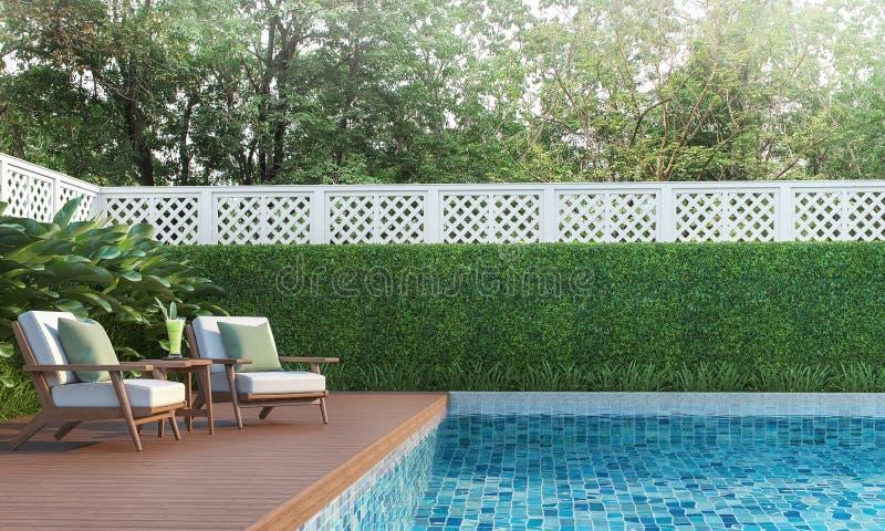 Terraza de la piscina en el jardín 3d rendir libre illustration