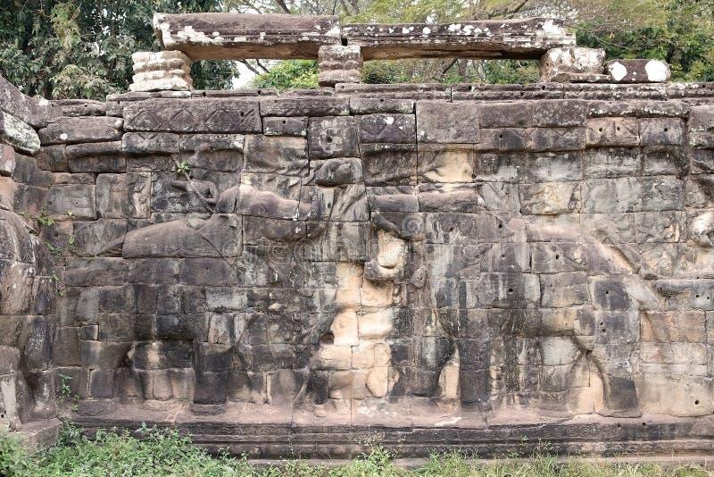 Terraza De Los Elefantes Foto De Archivo Imagen De Angkor