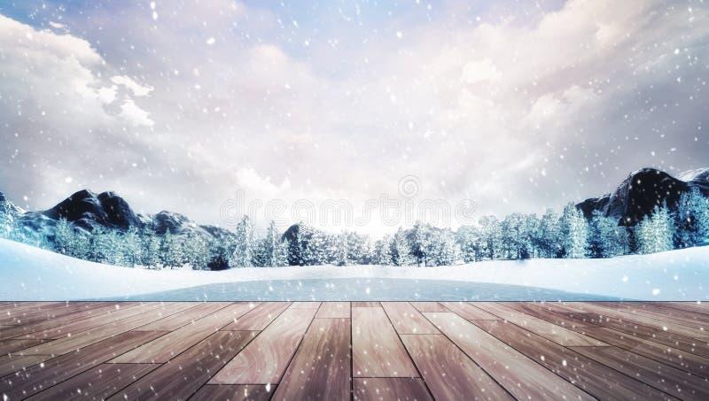 Terraza de madera en paisaje de la montaña del invierno en las nevadas ilustración del vector