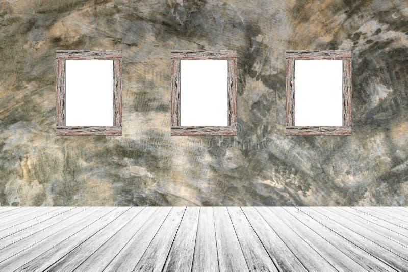 Terraza de madera y hormigón desnudo pulido con el marco de madera de la foto fotografía de archivo
