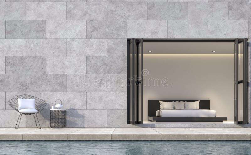 Terraza moderna del dormitorio del estilo del desván con imagen de la representación de la piscina 3d ilustración del vector