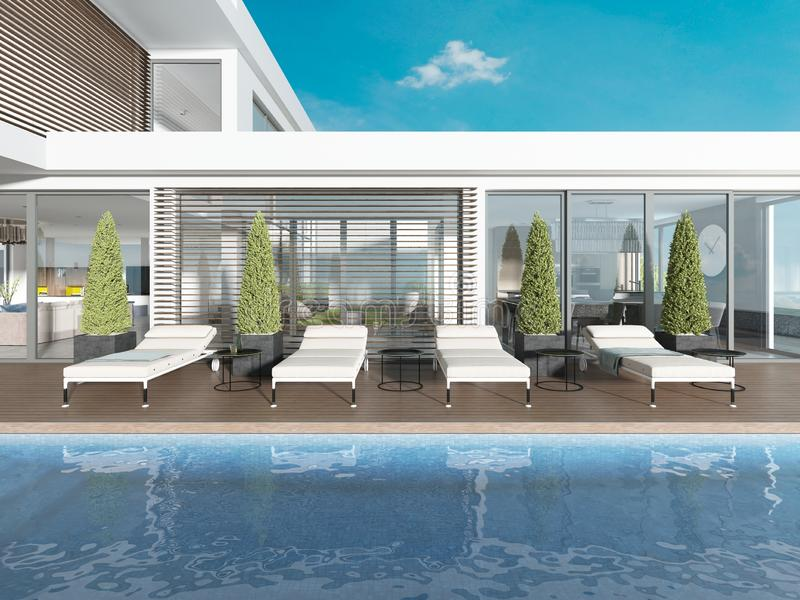 Terraza por la piscina con los ociosos del sol cerca de la casa moderna ilustración del vector