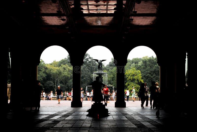 Terraza y fuente en Central Park, NYC de Bethesda imagen de archivo libre de regalías
