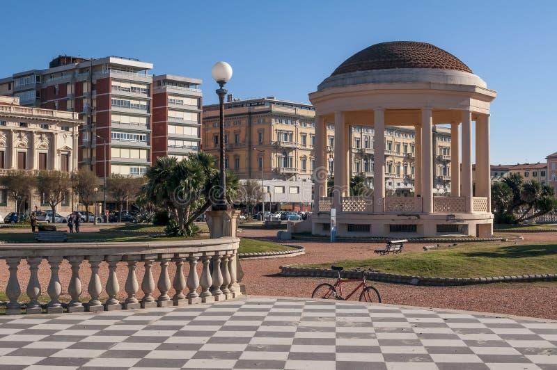 The Terrazza Mascagni and the Gazebo on the seafront of Livorno, Tuscany, Italy. Europe royalty free stock image