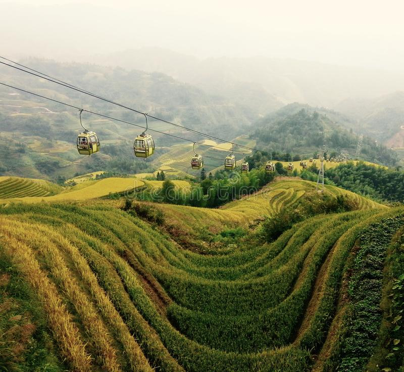 Terrazzi del riso di Longji, Cina immagini stock libere da diritti