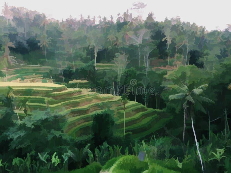 Terrazzi del riso ed illustrazione digitale dei vecchi alberi Riso tradizionale che cresce nell'Asia Meridionale illustrazione vettoriale
