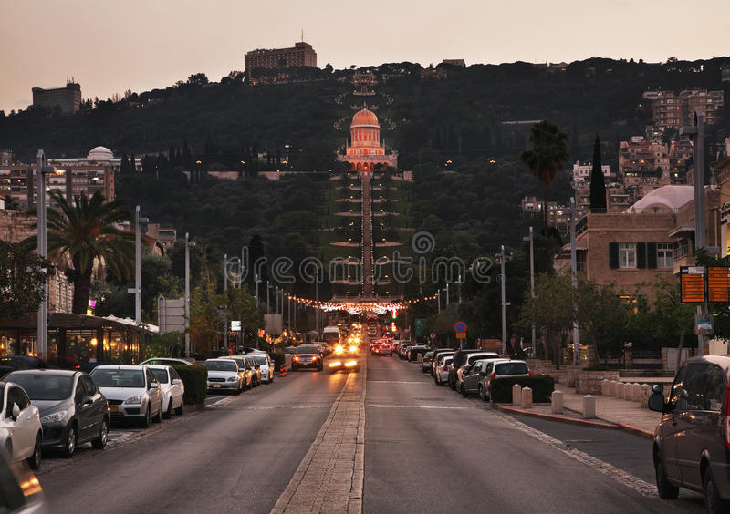 Terrazzi del santuario di Bab a Haifa l'israele fotografia stock