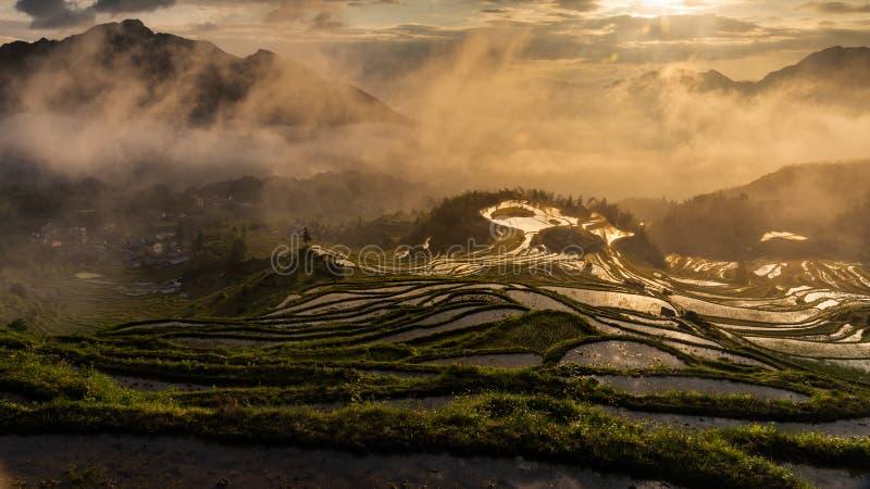Terrazzi rurali nella contea di Yunhe, città di Lishui, provincia di Zhejiang immagini stock libere da diritti