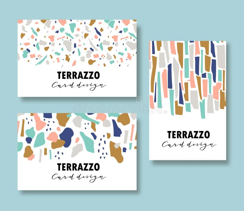 Terrazzo card template set. Vector abstract backgrounds with chaotic stains for corporate identity. Vector illustration. royalty free illustration