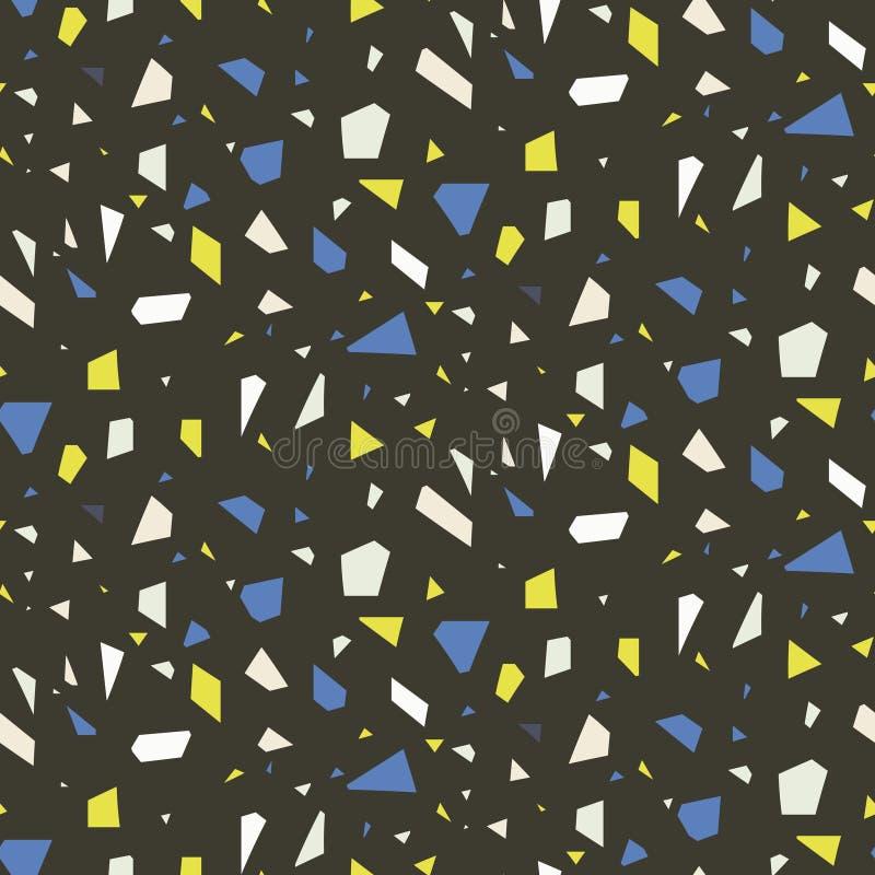 Terrazzo, der dunkles nahtloses Vektormuster ausbreitet lizenzfreie abbildung