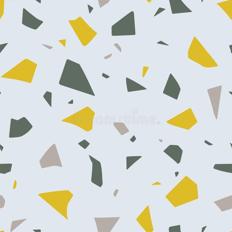 Terrazzo, der Effekt, abstraktes nahtloses Muster ausbreitet Bunte geschnittene Papierbeschaffenheit des Vektors lizenzfreie abbildung