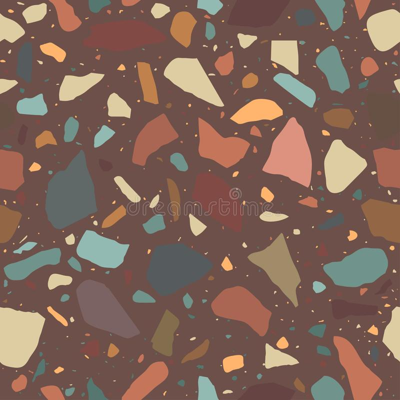 Terrazzo, der nahtloses Muster ausbreitet Marmormosaik gemacht in farbigem Polierkiesel vektor abbildung