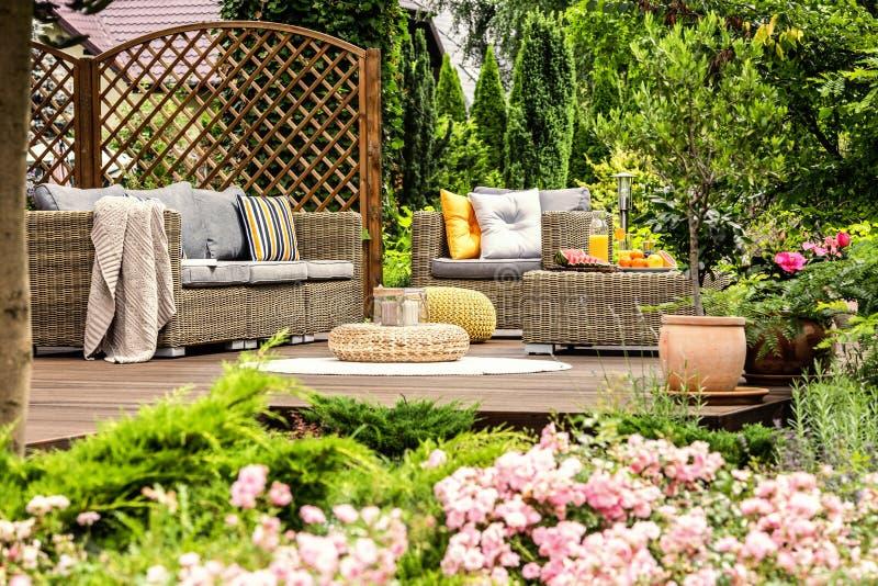 Terrazzo di legno con lo strato con i cuscini, poltrona, tavola con fre immagine stock