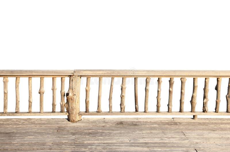 Terrazzo di legno isolato su bianco fotografia stock