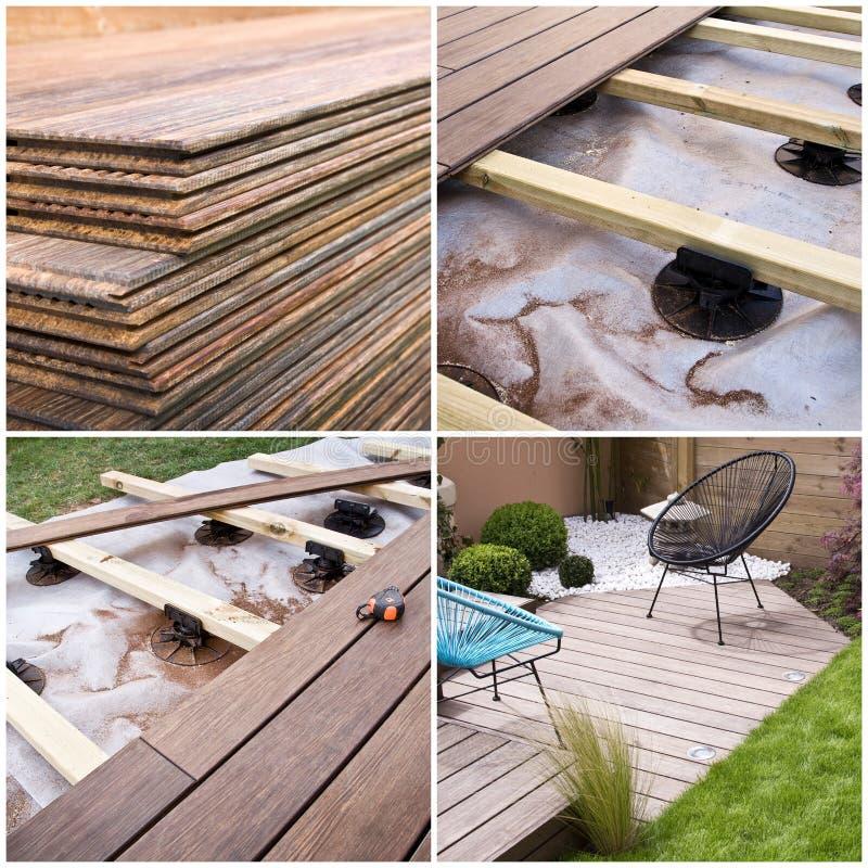 Terrazzo di legno, progresso della costruzione fotografie stock libere da diritti