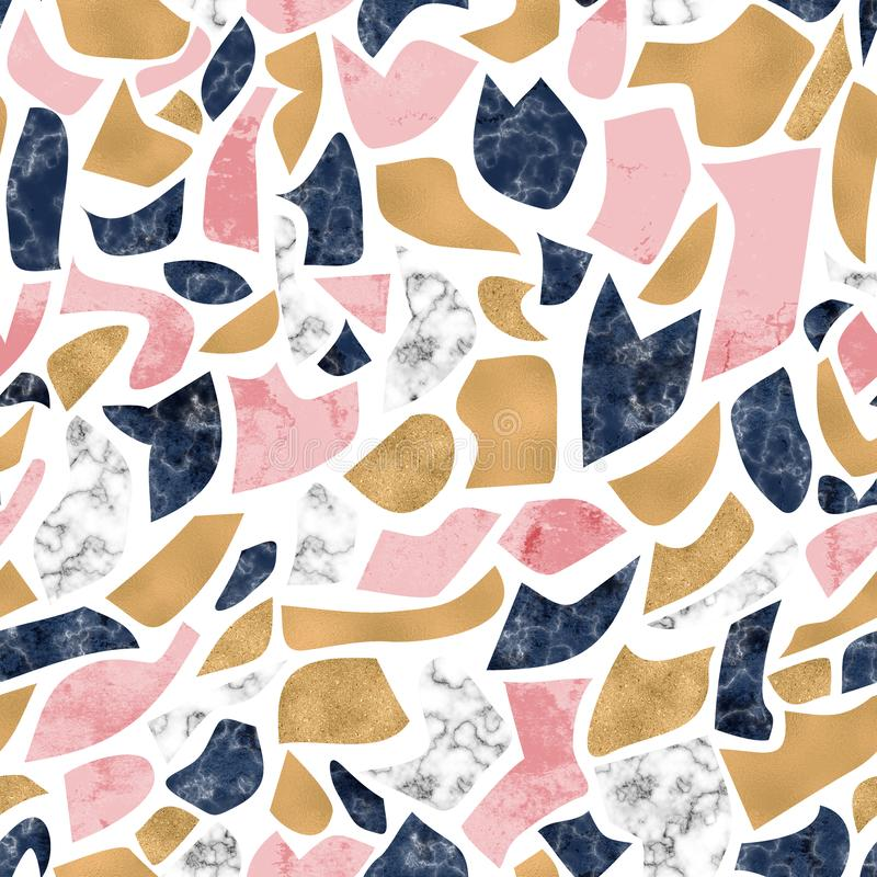 Terrazzo flooring imitation seamless pattern. Abstract geometric background with marble, natural stone, shiny gold foil texture stock images