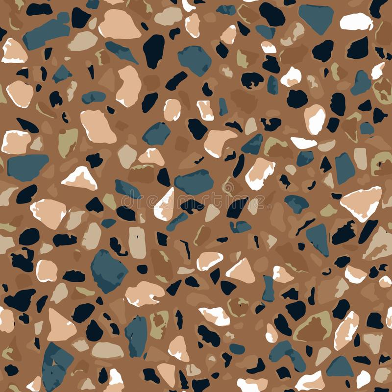 Terrazzo flooring, seamless pattern, brown background texture. Abstract vector design for print on floor, wall, tile or textile royalty free stock photo