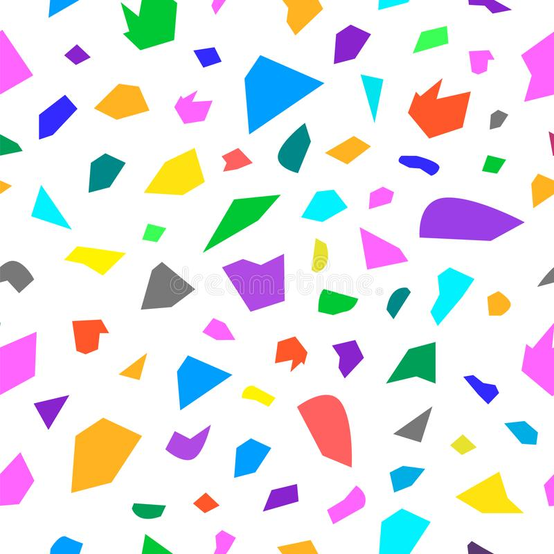 Terrazzo geometric texture. Abstract seamless pattern with colorful sprinkles scattered on white background. Creative vector vector illustration