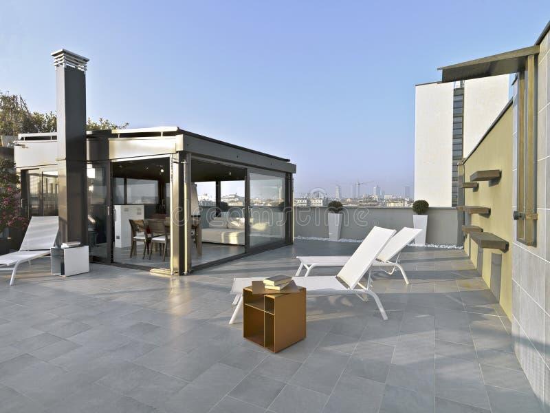 Terrazzo moderno immagine stock. Immagine di mobilia - 37075383