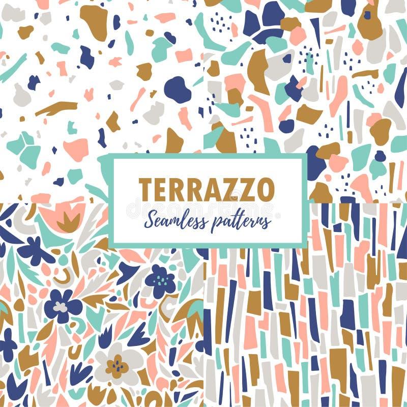 Terrazzo naadloze patronen De vastgestelde samenvatting herhaalt ontwerpen Vector abstracte achtergrond met chaotische vlekken stock illustratie