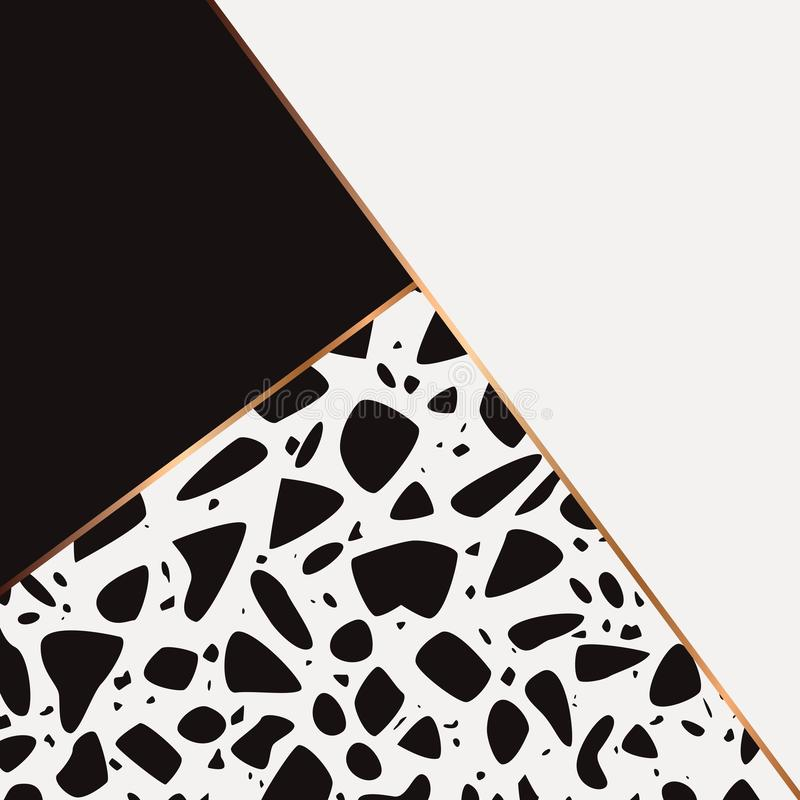 Terrazzo pattern design with hand drawn rocks, geometric shapes and golden line. Black and white abstract modern background, flat. Vector illustration vector illustration