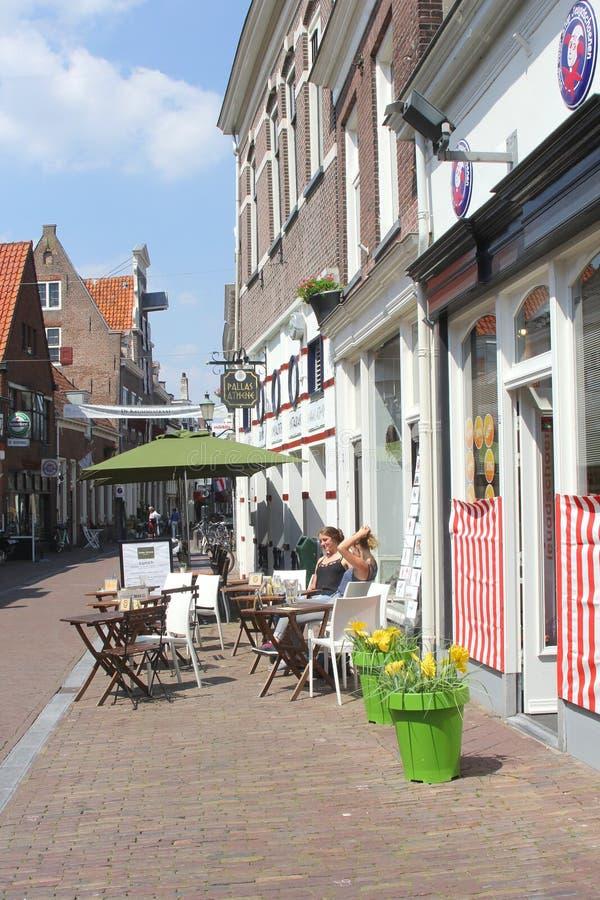 Terrazzo scenico nella città della fortezza di Amersfoort, Olanda fotografia stock libera da diritti