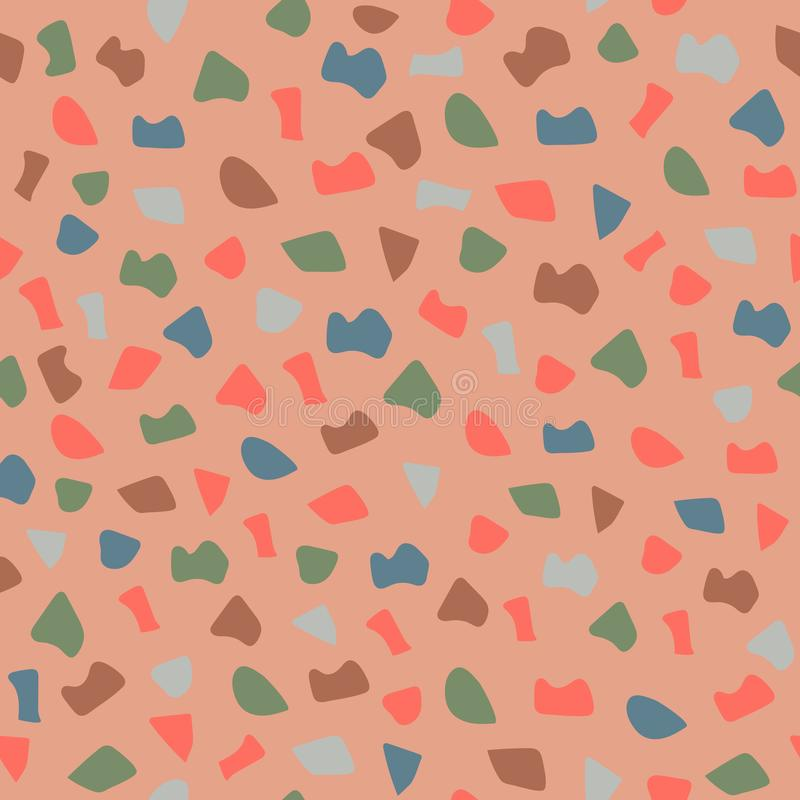 Terrazzo seamless pattern. The vector illustration is made in fashionable colors of 2019 vector illustration