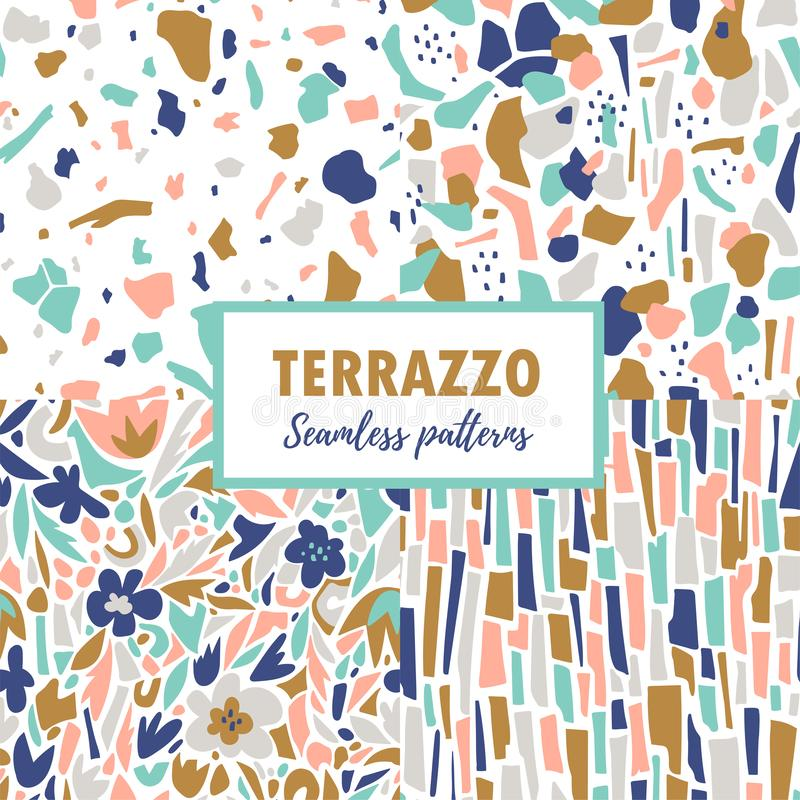 Terrazzo seamless patterns. Set abstract repeat designs. Vector abstract background with chaotic stains. stock illustration