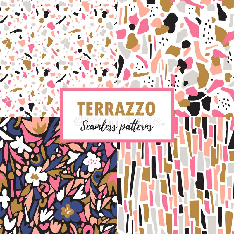Terrazzo seamless patterns. Set trendy abstract repeat designs. Vector abstract background. stock illustration