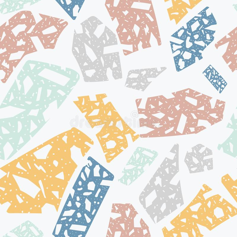 Terrazzosten som däckar tegelplattatextur - sömlös modell för tecknad film stock illustrationer