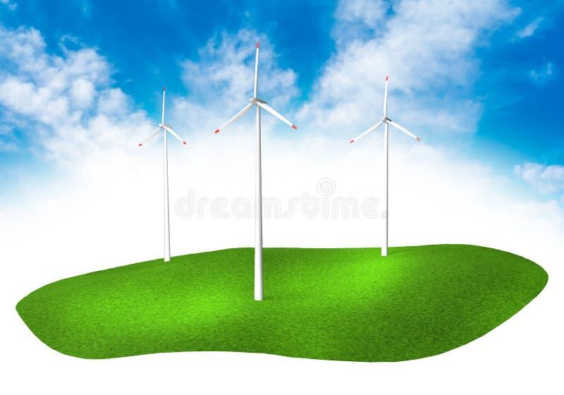 Terre avec des turbines dans le ciel photographie stock libre de droits
