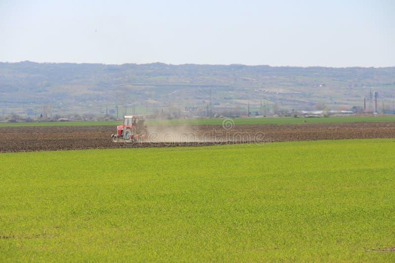 Terre de cultivation de tracteur en Serbie photo libre de droits