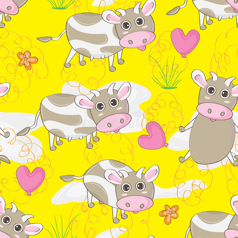 Terre Pattern_eps sans couture de vache illustration stock