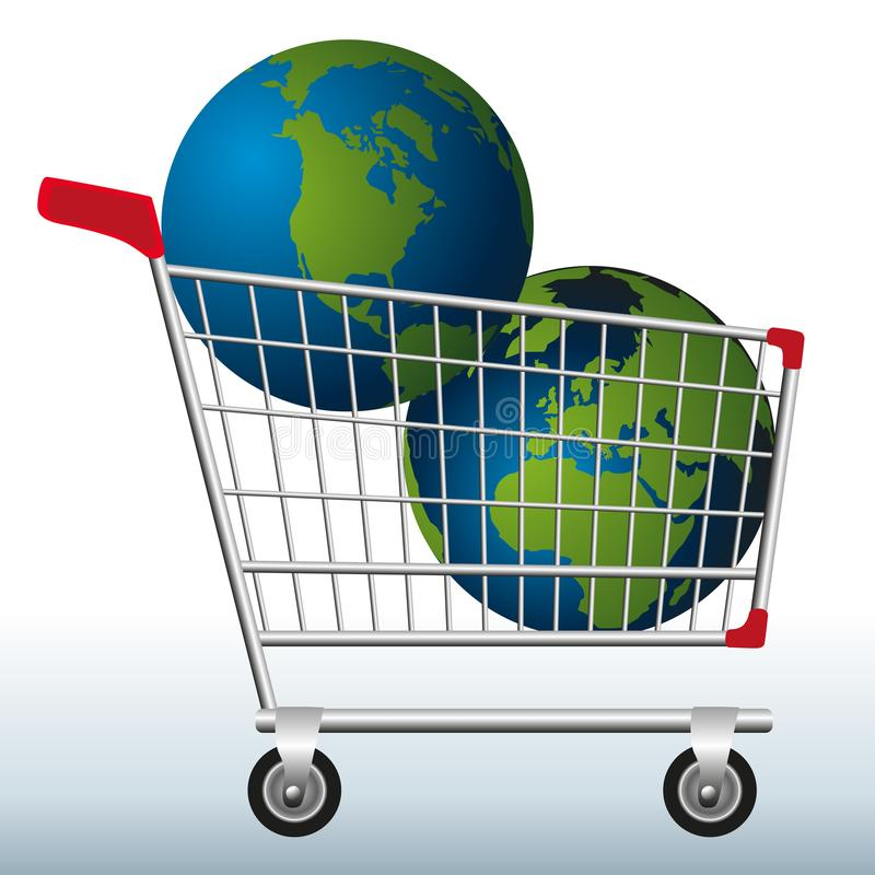 Concept of excessive exploitation of natural resources of the earth with two planets in a shopping cart to symbolize the danger. stock illustration
