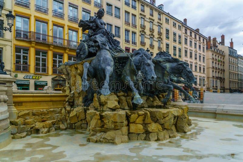 Terreaux广场和Bartholdi喷泉,在利昂 免版税库存图片