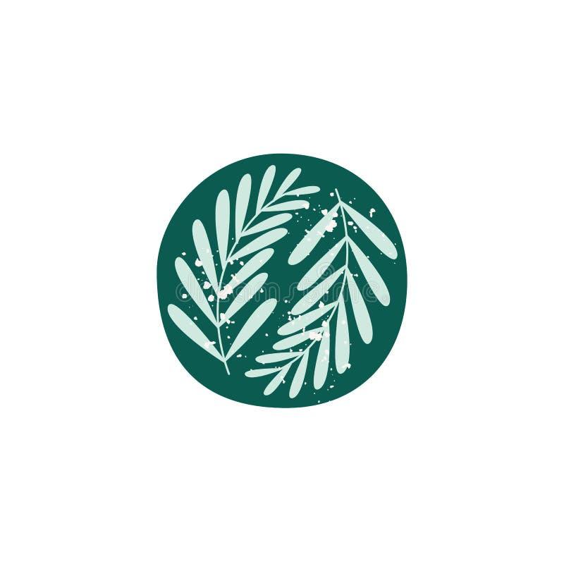 Terrecotte ceramiche con l'illustrazione piana di vettore delle foglie isolata su fondo bianco royalty illustrazione gratis