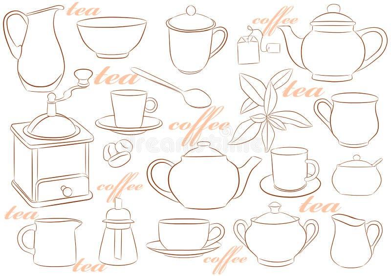 Terrecotte per tè e caffè royalty illustrazione gratis
