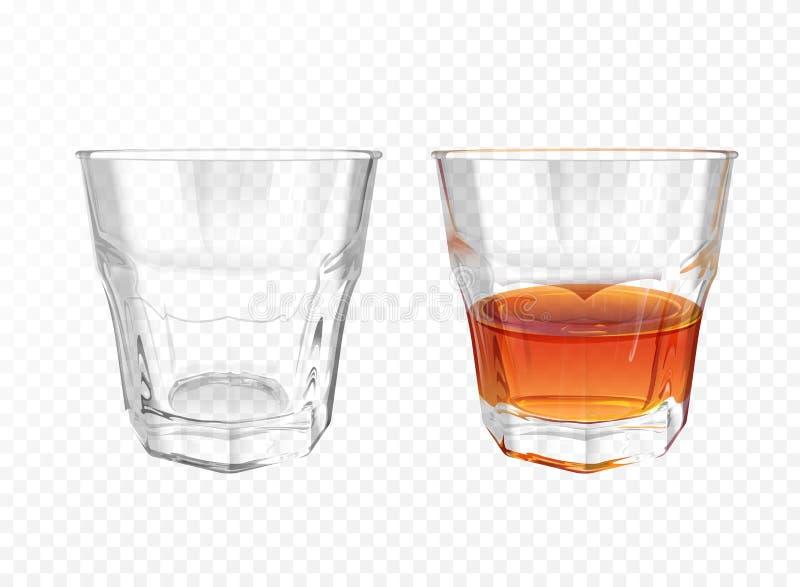 Terrecotte realistiche dell'illustrazione di vetro di vettore del whiskey illustrazione vettoriale