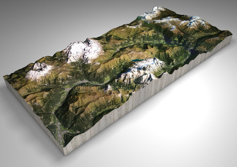 Terreinsectie, Canazei, Val di Fassa, Trentino Alto Adige, Italië Bergen en heuvels, pieken van het Dolomiet, Sassolungo royalty-vrije illustratie