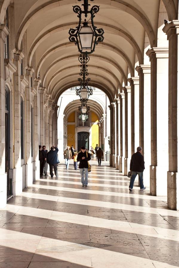 Terreiro делает квадрат Лиссабон коммерции Paco стоковые изображения