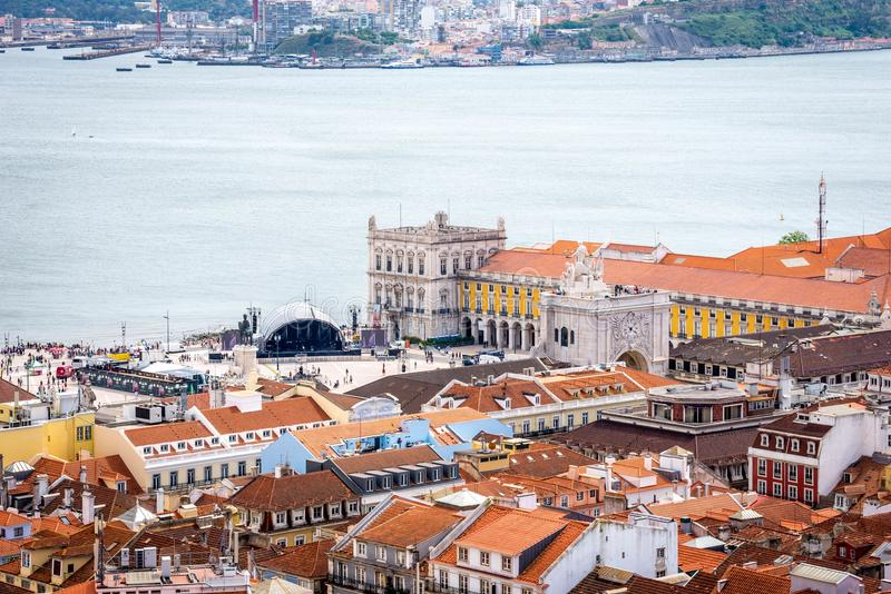 Terreiro do Paço, που βλέπει από το Castle στοκ εικόνες με δικαίωμα ελεύθερης χρήσης