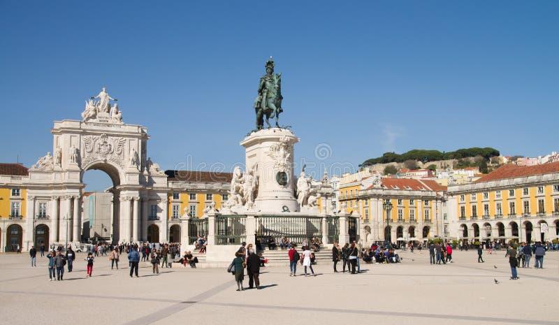 Terreiro faz Paco, D Estátua de Jose King e Rua Augusta Arch, Lisboa fotos de stock royalty free
