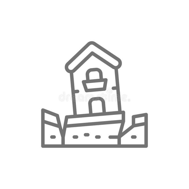 Terremoto, terremoto, cat?strofe, linha ?cone da cat?strofe natural ilustração stock