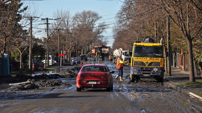 Terremoto de Christchurch da estrada do recuo, Nova Zelândia foto de stock royalty free