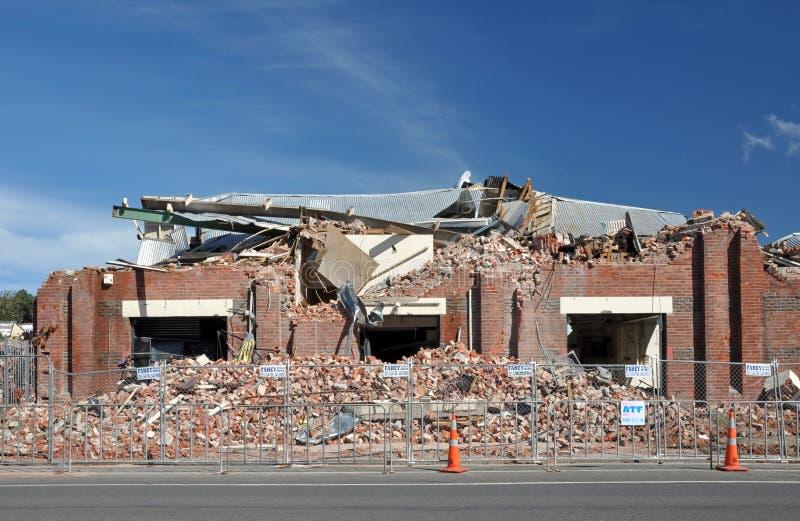 Terremoto de Christchurch - fábrica do tijolo destruída fotos de stock