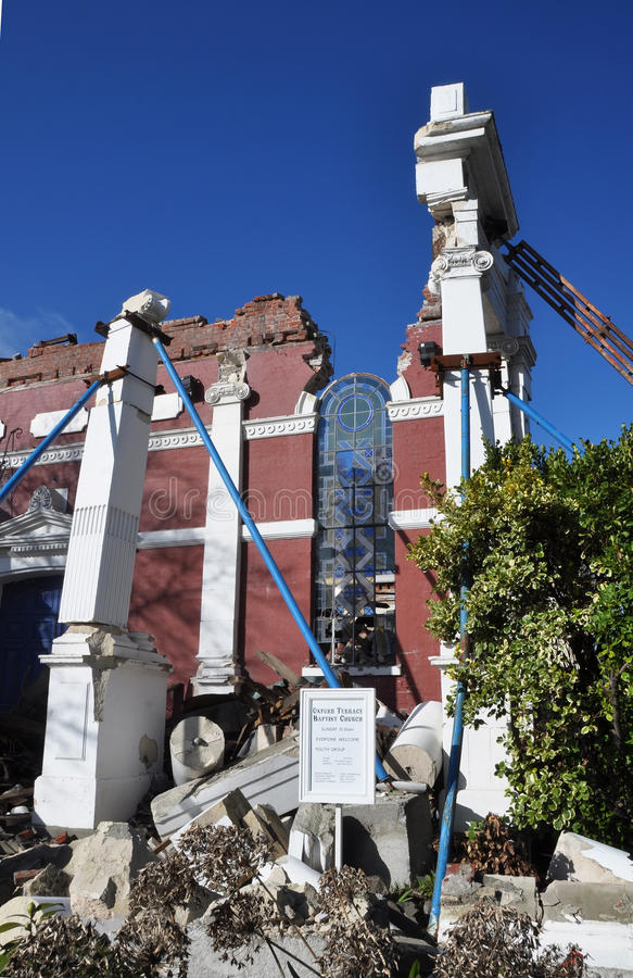 Terremoto de Christchurch - iglesia baptista en ruinas fotografía de archivo libre de regalías