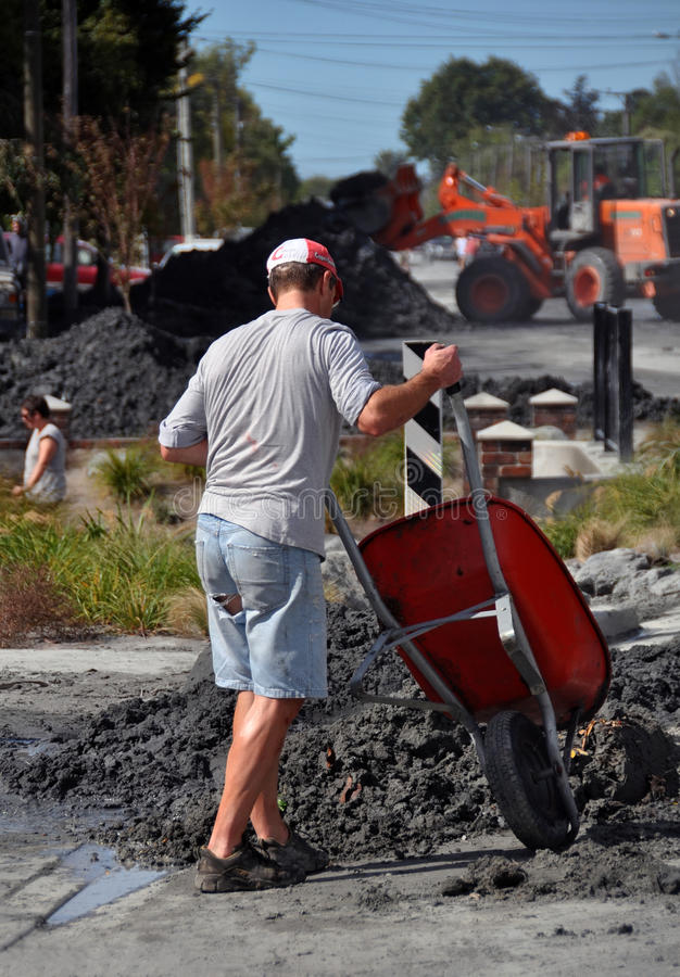 Terremoto de Christchurch - a limpeza grande fotografia de stock royalty free